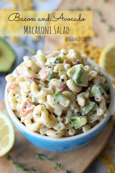 Recipe for Bacon and Avocado Macaroni Salad - This simple macaroni salad of just three main ingredients comes together so beautifully as they get tossed in an incredibly creamy lemon-thyme dressing.