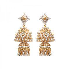 Bani Diamond Jhumkas   Certified diamond jhumka earrings in 18 karat yellow gold, partly rhodium plated, containing 346 round brilliant diamonds; total diamond weight is 2.27 carats. - See more at: https://www.rajjewels.com/chalice-diamond-drop-earrings.html#sthash.M1SX6BnX.dpuf