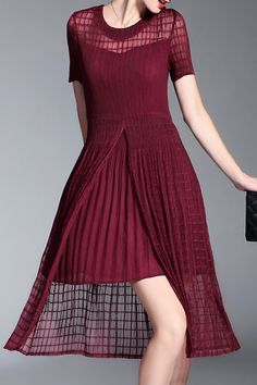 Shyslily Wine Red Cami Dress And High Slit Dress TwinseT