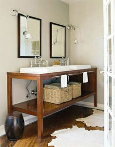 modern and natural sink area for bathroom