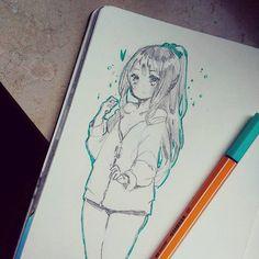artblock yeah Anime Drawings Sketches, Anime Sketch, Cute Drawings, Manga Art, Anime Art, Manga Drawing Tutorials, Art Folder, Copics, Cartoon Art