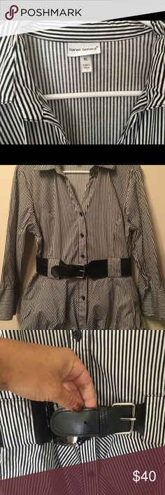 HARVE BERNARD B-DWN CHIFFON,BELT STRIPED B/C LAST SALE !! -----OFFERS !! :) OR GOING ON ANOTHER BUT TY TS GORGEOUS ON & NEW, JUT BAD AT PICS LOL ---ENJOY! HARVE BERNARD BUTTON DOWN WITH CHIFFON BOTTOM & BELT ....STRIPED BUSINESSES CASUAL DRESS Shirt for ALL OCCASIONS!! XL NWOT NEVER WORN YET AWESOME SHIRT, Colors are AS IN PIC! sleeves have style & fashion buttons & flare!  Harve Benard Tops Button Down Shirts