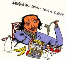 Meme of 'Salvador Dali eating a bowl of surreal'. Dali is best known for his surrealist artwork. Art Memes, Art Puns, Memes Arte, Art Quotes, Funny Paintings, True Art, Animation, Manado, Art Classroom