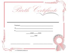 A printable birth certificate in shades of pink for a baby girl. Features a pink ribbon and an ornate border. Free to download and print