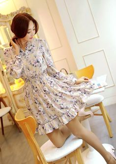 StyleOnme_No. 35644 #dress #floral #flowery #louisangel #girly #feminine #lady #flare