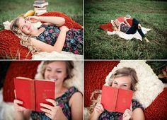 Cute senior session--fun poses with books Velvet Owl Photography Blog