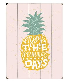 One Bella Casa Enjoy The Summer Days Pink Planked Wood Wall Decor Wood Wall Decor, Wood Wall Art, Summer Days, Invitations, Pineapple Express, Pink, Gifts, Pictures, Paradise