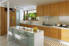 Na Miarę 1 - wizualizacja 5 - Nowoczesny projekt domu z kuchnią od frontu Dream House Plans, House Design, How To Plan, Kitchen, Table, Furniture, Car Garage, Villas, Magnolia