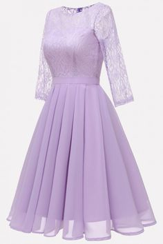 7c5190a9363 Light-purple Lace Chiffon Fit   Flare Sexy Swing Formal Dress  058507    Party