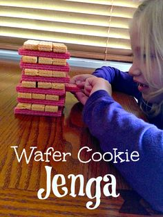 Make your own Jenga game at home using wafer cookies and your kids will love the fun they will have! Easy cookie craft to play with kids for building fun. Valentine Activities, Activities For Kids, Crafts For Kids, Make Your Own Game, Kids Church, Church Games, School Parties, Night Parties, Jenga Game