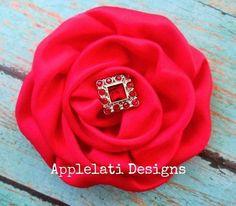 Red Satin Christmas Flower / Rolled Flower Clip / Flower Hair Clip from Applelati Designs