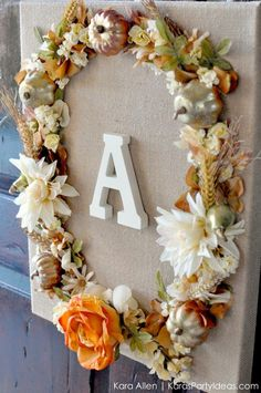 DIY Fall Floral Wreath + Frame Wall / Door hanging via Kara Allen | Kara's Party Ideas KarasPartyIdeas.com