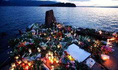 A peaceable response to violence: memorial for the victims of the shooting on Utoya island in July 2011.  Photograph: Fabrizio Bensch/REUTER...