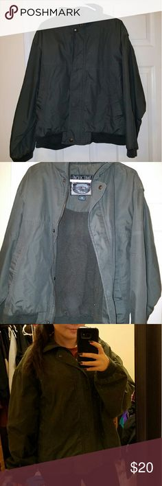 Vintage Bomber Jacket In the photos it looks like a grey color but it's an olive green. Size M in Men's but fits like a Large in women's. I'm in between a S/M but this jacket was great for layering and very very warm! Pacific Trail Jackets & Coats