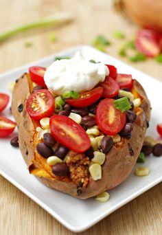Southwestern Stuffed Sweet Potatoes with Ground Turkey