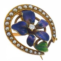 Victorian Round Cut Diamond Seed Pearl Enamel 14k Yellow Gold Flower Pin - See more at: http://www.newyorkestatejewelry.com/pins/antique-pearl-diamond-enamel-flower-pin/25366/9/item#sthash.vHRkRN2T.dpuf