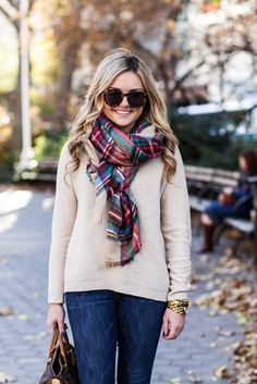 Cream Sweater + Plaid Scarf
