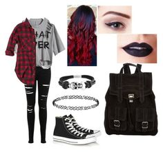 """""""Punk Rock"""" by kayler3 ❤ liked on Polyvore featuring Miss Selfridge, Converse, Dorothy Perkins, Abercrombie & Fitch, Bling Jewelry, Lime Crime and Proenza Schouler"""