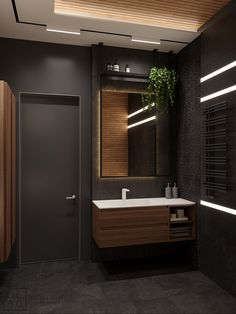 Get onboard with the wood slat wall trend with this luxurious home interior; featuring wood slat dividing walls, wall panel design and wood ceiling ideas. Washroom Design, Rustic Bathroom Designs, Toilet Design, Modern Bathroom Design, Bathroom Interior Design, Interior Walls, Modern Bathrooms, Bedroom Designs, Luxury Condo