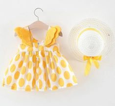 Princess Baby Girl Dress Cotton Print Dot Wings Newborn Baby Dress With Hat Clothes Set Girl Party Birthday Dress Baby Vestidos Baby Outfits Newborn, Toddler Outfits, Kids Outfits, Baby Girl Princess, Cute Baby Girl, Baby Girls, Baby Girl Party Dresses, Girls Dresses, Dress Girl