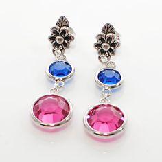 Fuchsia Blue Dangle Earrings Flowers in Bloom by LavenderRabbit, $12.00