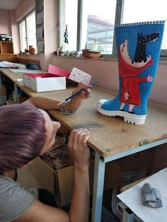 These rain boots are made for walking :) Painted Mugs, Love Painting, Ceramic Plates, Rain Boots, Walking, Ceramics, Canvas, Art, Pottery Plates