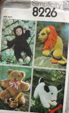 Cute Vintage Stuffed Animal Sewing pattern. They make adorable gifts!