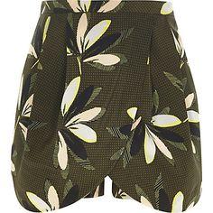 Khaki leaf print smart skort £28.00