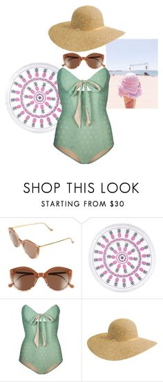 """""""Retro-Mod Beachwear"""" by christina-sherwood29 on Polyvore featuring Illesteva, You, Me and the Dream, Lilliput & Felix and Betmar"""