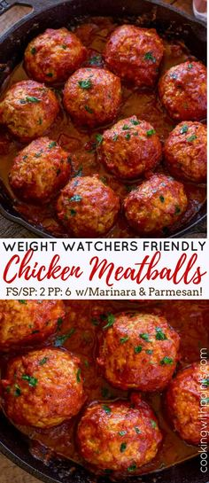 Classic Baked Chicken Meatballs in Marinara Sauce are just 2 smart points per serving and the perfect addition to a sandwich, bowl of noodles or veggie noodles!