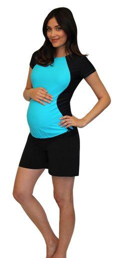 Rash Guard Maternity Swimwear And Maternity Shorts On