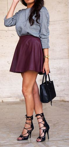 leather skirt + lace up heels