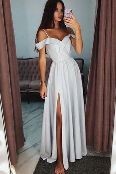 Chic Spaghetti Strap prom dress Off the Shoulder evening dress Side Slit party dress Long Evening Prom Dresses Grad Dresses, Prom Party Dresses, Ball Dresses, Homecoming Dresses, Evening Dresses, Dress Prom, Chiffon Dresses, Lace Chiffon, Prom Gowns