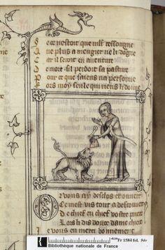 Français 1584, fol. 94v, Dame du verger nourrissant le lion