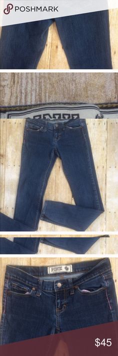 PINK BLUE JEANS SIZE 0L EXCELLENT CONDITION AND FIT PERFECT EXEPT TOO LONG I AM 5'3 AND THE ONLY FLAW IS THEY ARE LONG . RE POSHING PINK Victoria's Secret Jeans Skinny