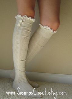 Boot Socks-so cute, maybe I can get my meme to make me a pair. But, then maybe I should get some boots first. Boot Cuffs, Boot Socks, Lace Socks, Sock Shoes, Shoe Boots, Tall Boots, Long Boots, Mode Style, Style Me
