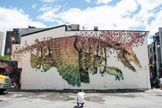 Puerto Rican artist Alexis Diaz (previously) brings textures and patterns reminiscent of traditional engraving techniques to his murals of phantasmagorical creatures using only a paintbrush. Twisting tentacles, strange fusions of anatomy, beings wrapped in plants, all rendered atop colorful gradie