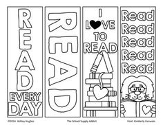 This set of color-your-own bookmarks is perfect for back to school, a literacy night, or whatever else you can think up! Just print on cardstock, cut, and your students can customize their own… Colouring Pages, Free Coloring, Adult Coloring Pages, Coloring Books, Reading Bookmarks, Bookmarks Kids, Bookmarks To Color, Crochet Bookmarks, Free Printable Bookmarks