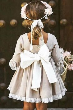 24 Country Flower Girl Dresses That Are Pretty ❤ country flower girl dresses with three quote sleeves with bow delucia vestidosdearras ❤ hochzeitsgast dresses Pretty Wedding Dresses, Wedding Dresses For Girls, Country Wedding Dresses, Girls Dresses, Bridesmaid Dresses, Wedding Country, Kids Wedding Dress, Baby Wedding Outfit Girl, Pretty Dresses
