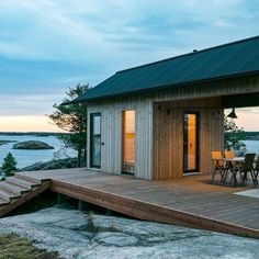 Finnish designers Aleksi Hautamaki and Milla Selkimaki purchased a island two years ago, on the edge of the Archipelago National Park in Finland, and have since built this self-sufficient summer house that includes a sauna, a guesthouse and a Cabin Design, House Design, Design Shop, Nordic Design, Ideas De Cabina, Scandinavian Cabin, Timber Cabin, Summer Cabins, Off Grid Cabin