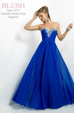Elegant in flared chiffon, by Blush Prom.
