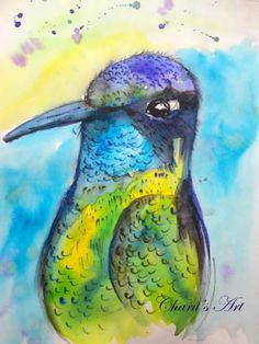 #watercolour bird #hummingbird #nature Watercolour Birds, Watercolor Illustration, Watercolor Tattoo, Watercolor Paintings, Hummingbird, Cute Art, Nature, Naturaleza, Water Colors