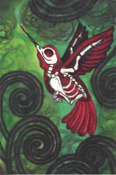 """Skeleton Humming Bird """"Last Flights"""" 6x9 stretched canvas art by ShayneoftheDead"""