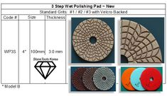 3 Step Wet Polishing Pad  For Granite & Marble Quality Diamonds, Granite, Marble, Marbles