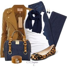 """""""Mustard Leather Jacket & Jeans"""" by ccroquer on Polyvore"""