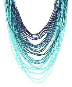 This Turquoise Ombré Seed Bead Necklace is perfect! #zulilyfinds
