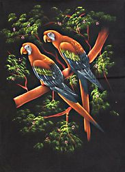 Cockatoo - Painting on Velvet Cloth
