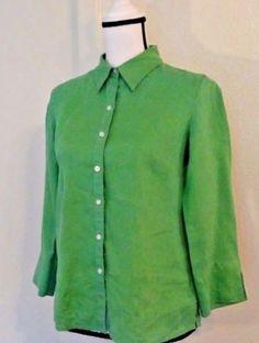 Talbots-Women-039-s-Blouse-Size-4-Button-Green-Linen-Spring-Fun-Summer-Picnic-Date