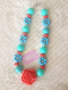 Child Turquoise Flower Bead with Red Rose pendant Chunky Bubblegum Necklace on Etsy, $12.50