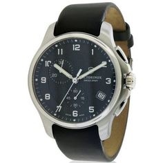 Swiss Army Victorinox Officers Leather Chronograph Men's Watch, 241552.1, Size: 42 mm, Black